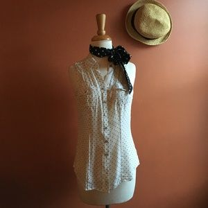 WHBL White Silk Polka Dot Sleeveless Blouse Size 6